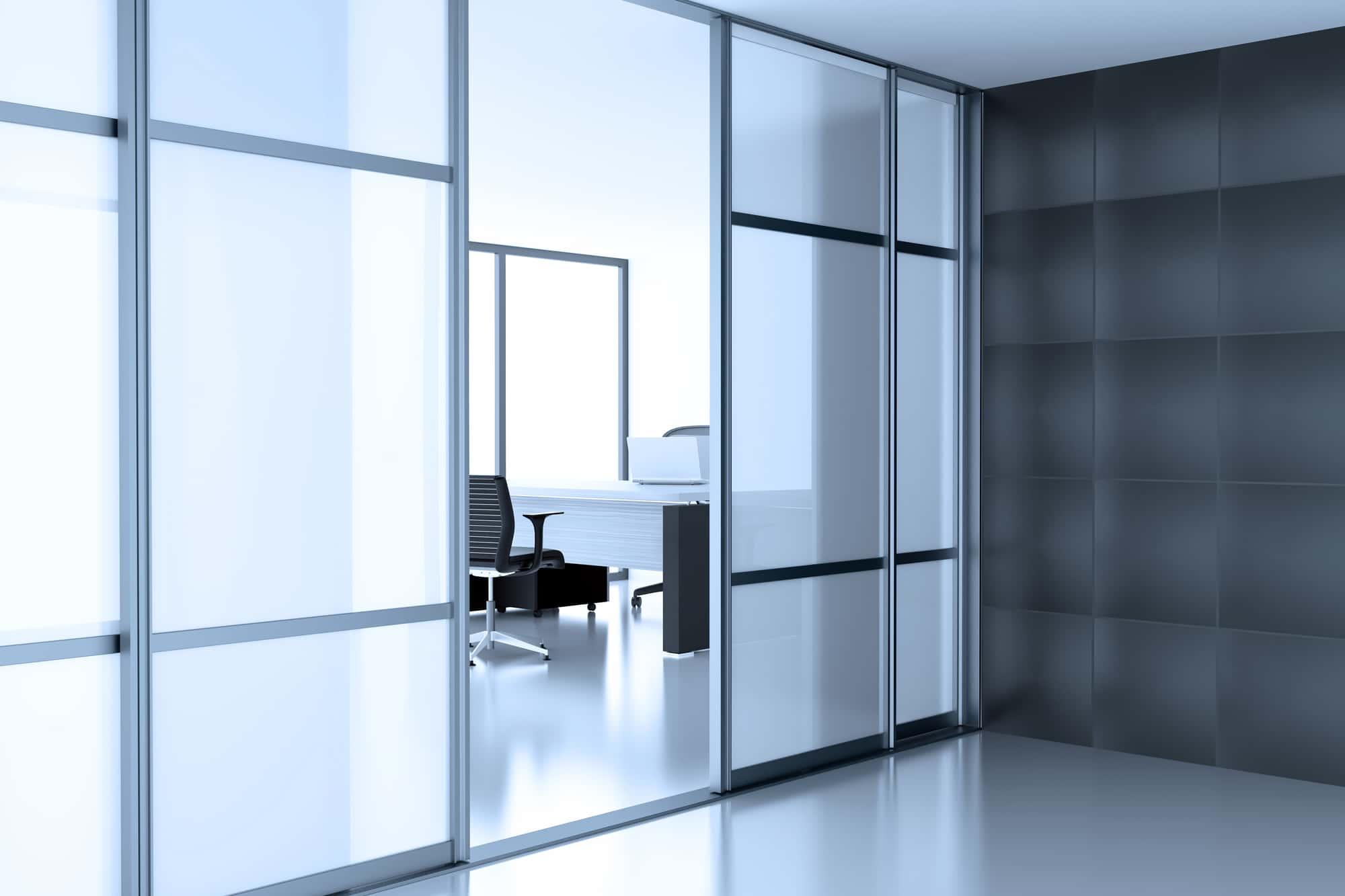 glass door in white room